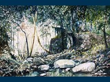 Watercolour. Spring Stream Below Houmeri. 16.5 x 25