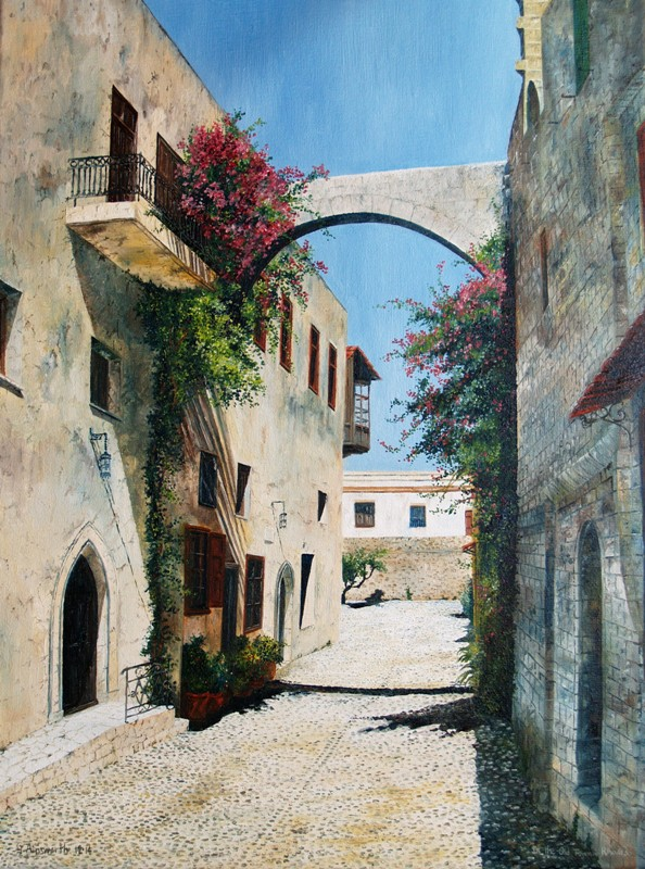 In the Old Town, Rhodes 30 x 40 - Oil on Canvas, George Ainsworth