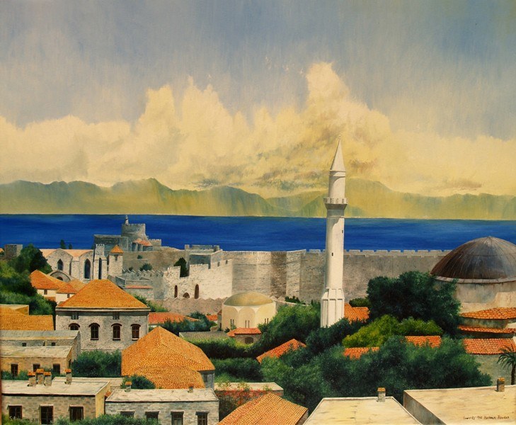 Towards the harbour, Rhodes 50 x 60 - Oil on Canvas, George Ainsworth